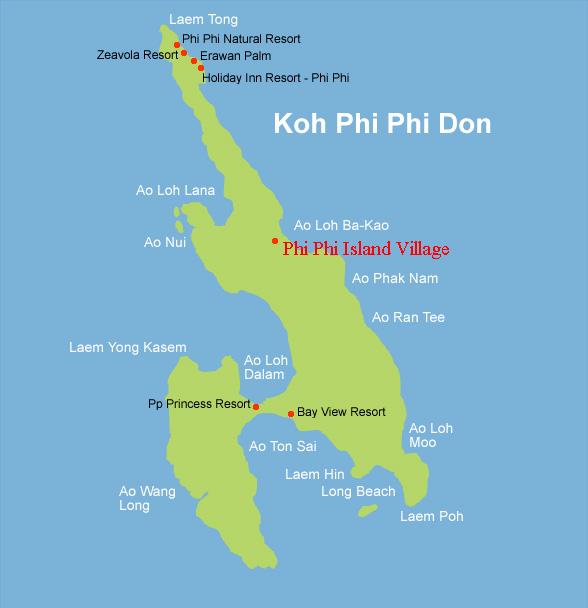The Phi Phi Beach Resort Map: Phi Phi Island Village Phi Phi Island In Phi Phi Thailand
